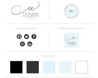 Blue Watercolor Logo Design Branding Package,Photography Logo Watermark - Blog Header Premade Logo  Design and Branding Kit