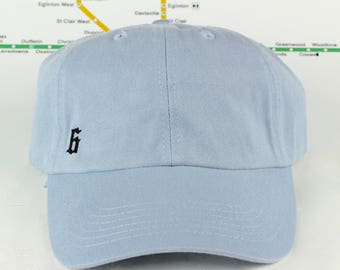 """Baby Blues! Low-Key """"The 6"""" Toronto Baby Blue Dad Caps. Unstructured, Strap Back, YYZ, GTA, CN Tower, The 6ix, T Dot, 90's Era, Dad Hats!"""