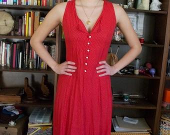 Red and White Polka-dot Vintage Dress
