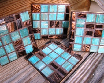 Handmade Mosaic COASTERS turquoise Rich chocolate browns colors metallic italian glass tile