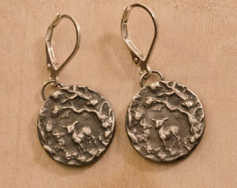 Fauns in the Woods, Sterling Silver Earrings with Lever-Back Earwires