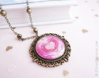 Pink heart lace necklace