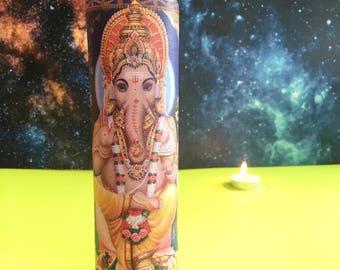 "Ganesh ϟ 8"" Altar Candle - Hinduism - meditation - yoga - channeling - worship - handmade"