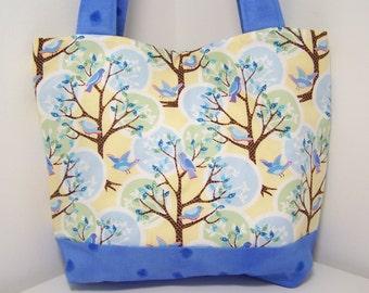 Feathered Blue Friends Purse - Medium Tote Bag