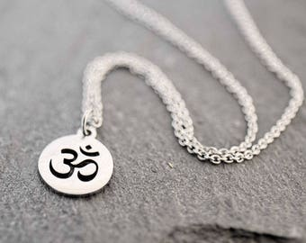 Silver yoga necklace Dainty silver Om necklace Om jewelry Simple everyday necklace Delicate necklace Dainty layered necklace Delicate gift