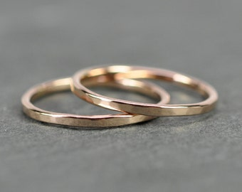Skinny Rose Gold Stacking Rings, Solid 14K Rose Gold 1mm Bands, Faceted Texture, Polished Finish, Set of 2, Sea Babe Jewelry