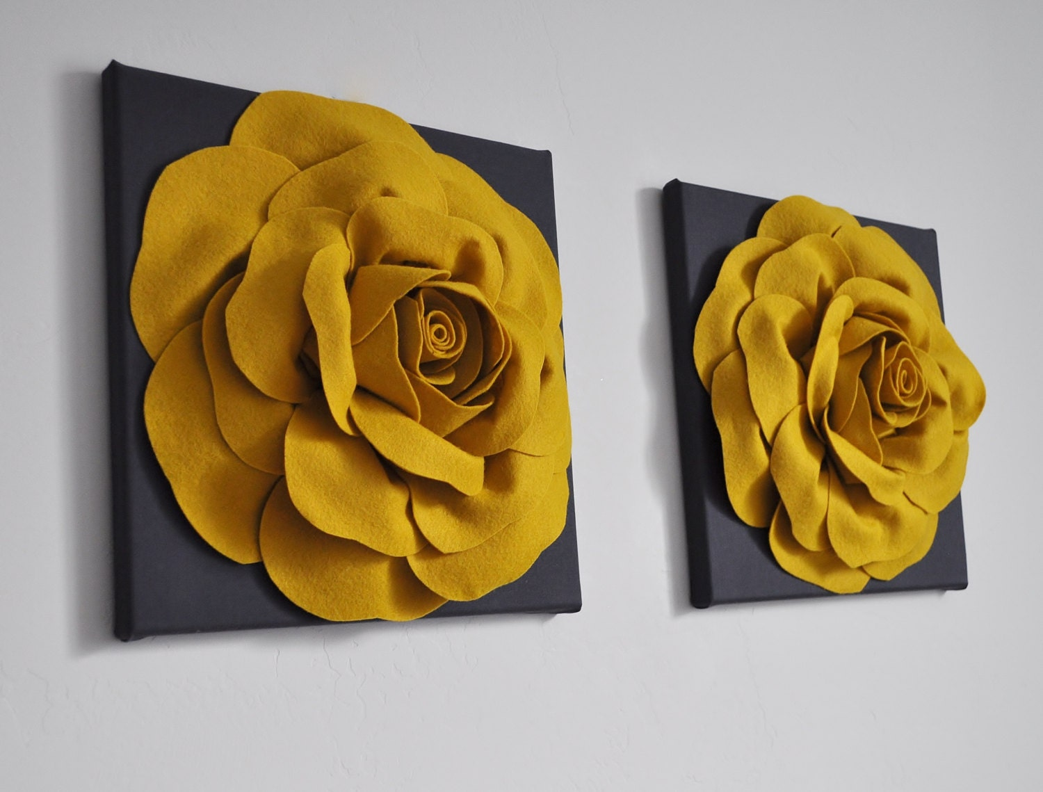 Rose Art Home Decor Set dark grey yellow wall decor mustard