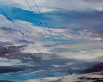 Birds On A Wire, Original Oil Painting, 18x24