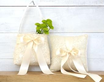 Wedding Ring Bearer Pillow and Flower Girl Basket Set - Ivory Sequin & Ivory Satin Bow, Ring Bearer Flower Girl Set, Sequin Flower Girl Bag