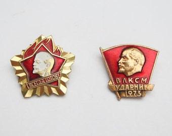 Vintage Soviet pin set 2 pcs soviet propoganda red star USSR vintage pin badge pioneer komsomol history Lenin communism rare pins