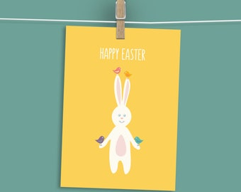 Download Easter Card, Happy Easter Printable Card, Digital Happy Easter Card, Easter Bunny Card Printable, Funny Easter Card, Funny Bunny
