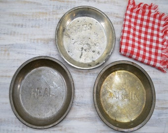 Three Metal Pie Pans - bakeware set of pans - Carlin, Fasano, Real - farmhouse baking pie tins