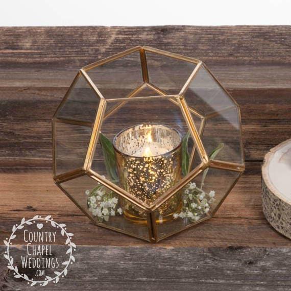 Gold geometric terrarium wedding succulent