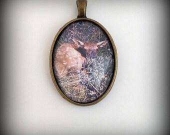 Baby Elk Picture Pendant, fawn, deer, wildlife baby necklace
