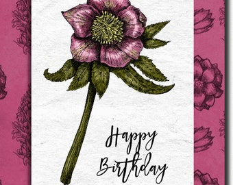 Happy Birthday hand made birthday card - 12.5cm x 17.5cm (5'' x 7'') with envelope.
