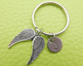 Angel Bird wings stainless steel Keyring initial keychain