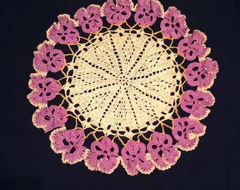 Doilies 2 vintage hand crocheted doilies in purple and cream   #175