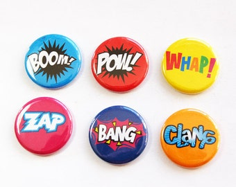 Funny magnets, Humor, button magnets, Comic Book Magnets, Kitchen Magnets, Fridge magnets, bright colors, stocking stuffer (3272)
