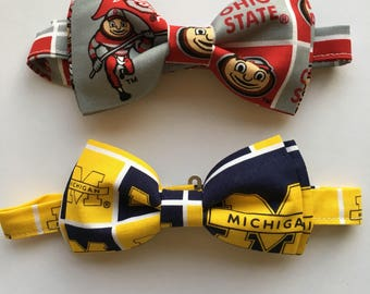 University of Michigan and Ohio State Rivalry Bow tie set