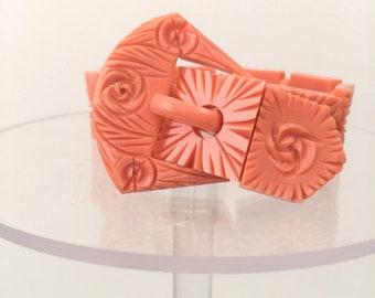 1930s celluloid buckle bracelet floral design with adjustable fastening vintage