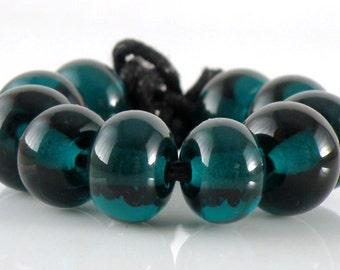 027 Transparent Dark Teal Made to Order SRA Lampwork Handmade Artisan Glass Spacer Beads Set of 10 5x9mm
