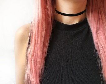 Thin black velvet choker - black choker necklace