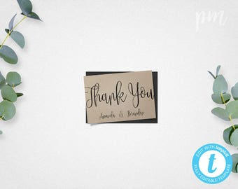 Script Thank You Card Template, Wedding, Bridal Shower, Baby Shower, Bachelorette Thank You Cards, Printable Thank You Cards