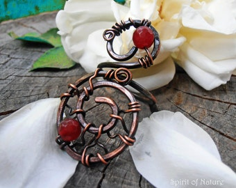 Antique copper wire ring with red stone Copper wire boho ring Wire weaved ring Wire weaved jewelry Statement copper wire ring hammered