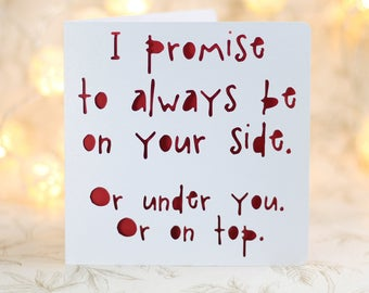 Love cards etsy i promise to be at your side funny birthday funny love card for him love card for her sarcastic snarky sexy card inappropriate card m4hsunfo