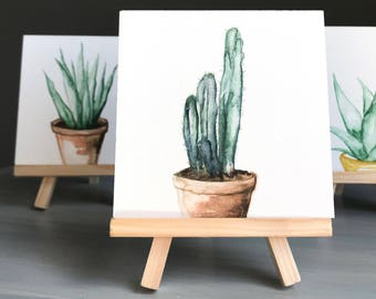 Original 4 x 4 inch watercolor potted plant