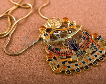 Large Egyptian Gold Plated Enamelled Winged Scarab And Eye Of Horus Necklace