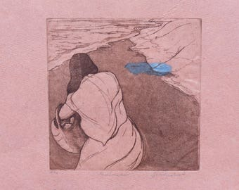 Beachcomber,Original Fine Art Etching on hadmade paper