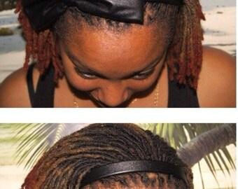 Black leather bow headband