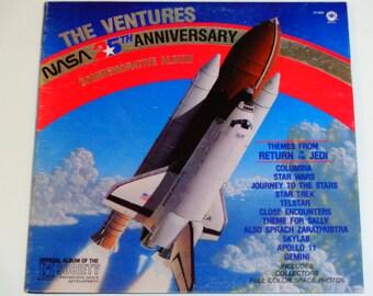 The Ventures - NASA 25th Anniversary Commemorative Album - Star Wars - Apollo II - Skylab - Star Trek - Vintage Gatefold Vinyl LP Record