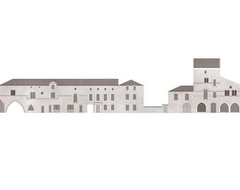 west elevation of the Place de l'Église, Monpazier — limited edition archival print
