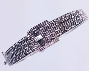 Marked 925 Sterling and Marcasite Buckle Bangle Bracelet, Hinged Sterling Bangle with Marcasites
