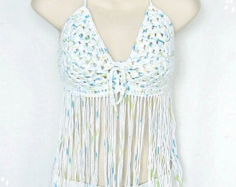 White Crochet Fringed Halter with Aqua, Yellow and Green, Fringed Hippie Top, Boho Halter, Festival Top, Hooping Top