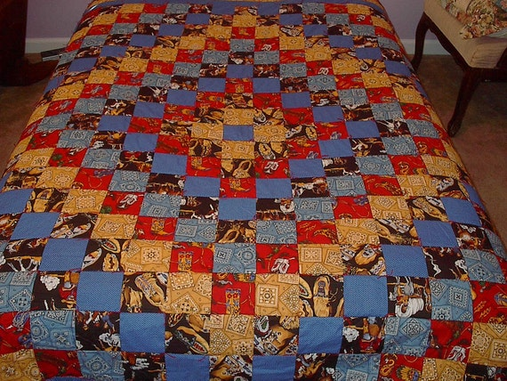 Western Quilt Full Size Cowboys And Indians Hand Tied And Hand