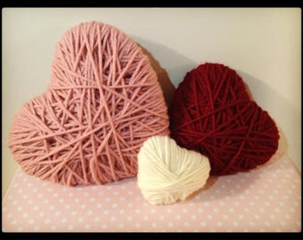 Handmade/wrapped yarn hearts