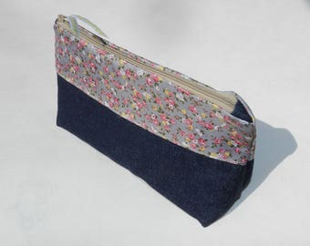 Toiletry bag / pouch lined raw denim
