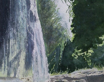 Original watercolor, original painting of a cascade, sketch, landscape