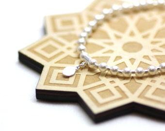 White Swarovski Pearl and Silver Wrist Tasbih   Miniature 33-bead Tasbih on Stretch Cord   Prayer Beads   Handmade by Azki