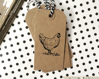 Chicken Tag - Chicken Gift Tag - Set of 10 chicken kraft chipboard gift tags - Primitive Rustic Farmhouse - Chicken - Farm Fresh - Chicken