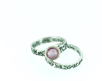 sale sapphire engagement ring . wedding band set . rose pink wuthering heights engraved ring . unique engagement ring ready to ship size 6.5