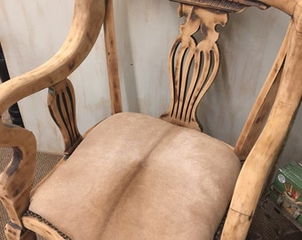 Pair of vintage chairs with new antelope hide seat