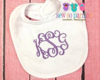 Monogrammed Baby Bib - Baby Girl Monogram Bib - Monogram baby bib - baby gift - Baby Girl Bib - 3 Initials Bib - baby girl gift baby shower
