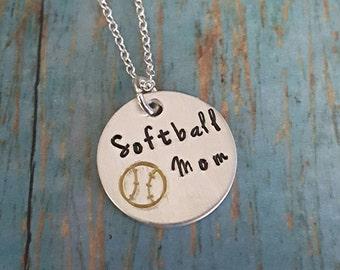 Softball Mom - Softball Mom Necklace - Softball - Sports - Sports Jewelry - Softball - Women's Jewelry - Softball Fan - Team Sports - Mom