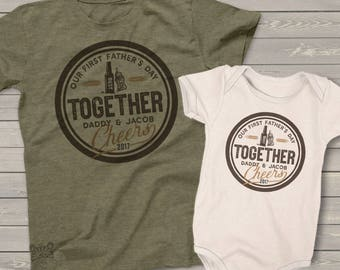 First Father's Day together cheers matching daddy and baby bodysuit gift set - great Father's Day shirts  MDF1-105