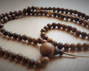 108 wood mala with lotus seed beads (size 8 mm)