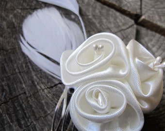 Wedding Hair Piece ~ Wedding Hair Accessories ~ Wedding Hair Comb ~ Wedding Hair Flower ~ Hair ~ Flower Hair Comb ~ Feather Hair Comb